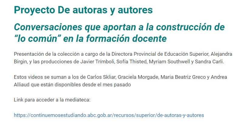 Proyecto Autoras y autores, dirigido a estudiantes de ISFD de Provincia de Buenos Aires. 2020.